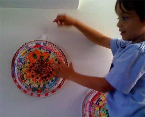 Fingerpainting the Moon: paper plate flower garden