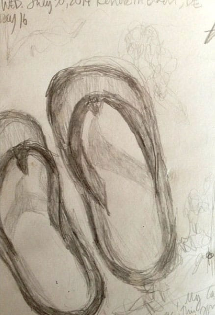 drawing of flipflops