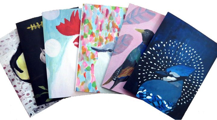 Set of 6 Birds Notecard set