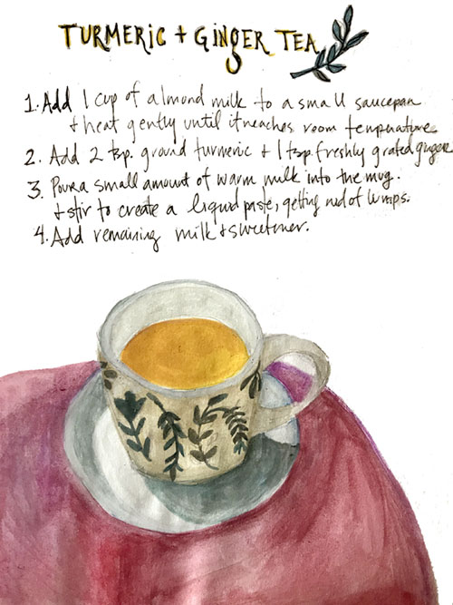 Illustrated recipe for Turmeric and Ginger Tea