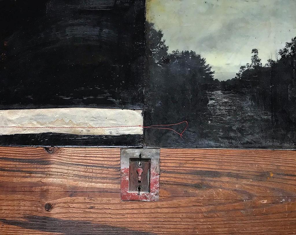 Encaustic mixed media painting, The Liminal Space, by Bridgette Guerzon Mills