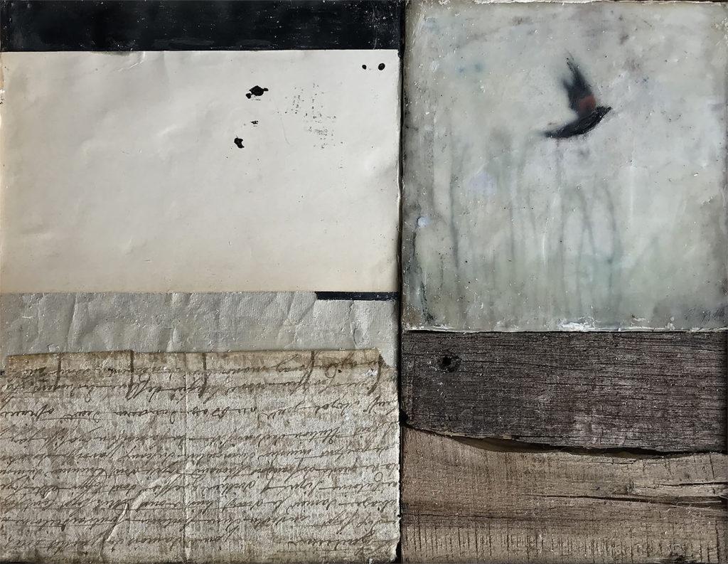 Encaustic mixed media painting, Crossing Paths, by Bridgette Guerzon Mills