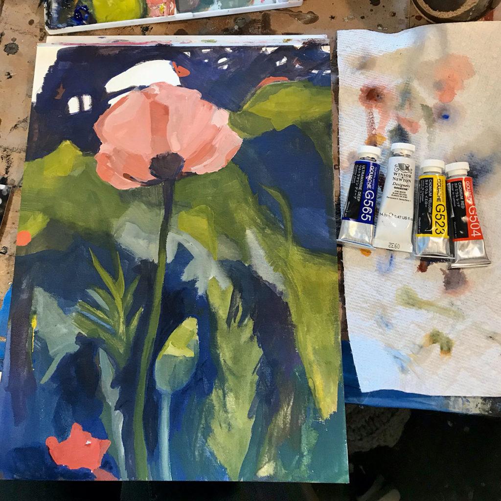 poppy study in gouache