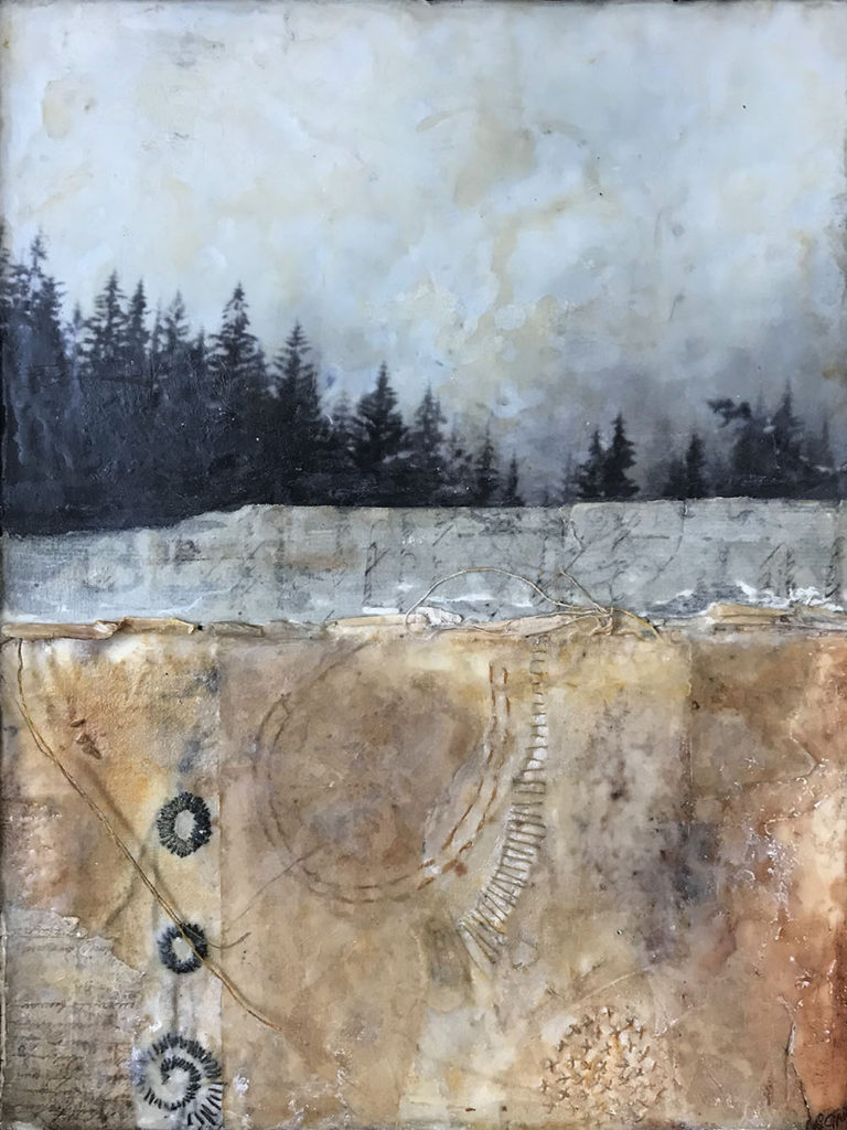 Encaustic mixed media painting Deeply Rooted by Bridgette Guerzon Mills
