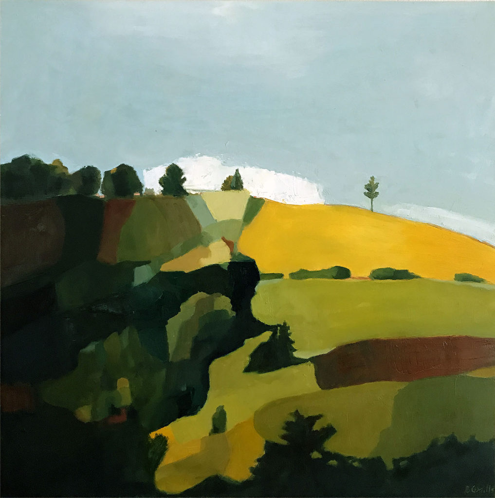 Oil painting, Hilltop, by Bridgette Guerzon Mills