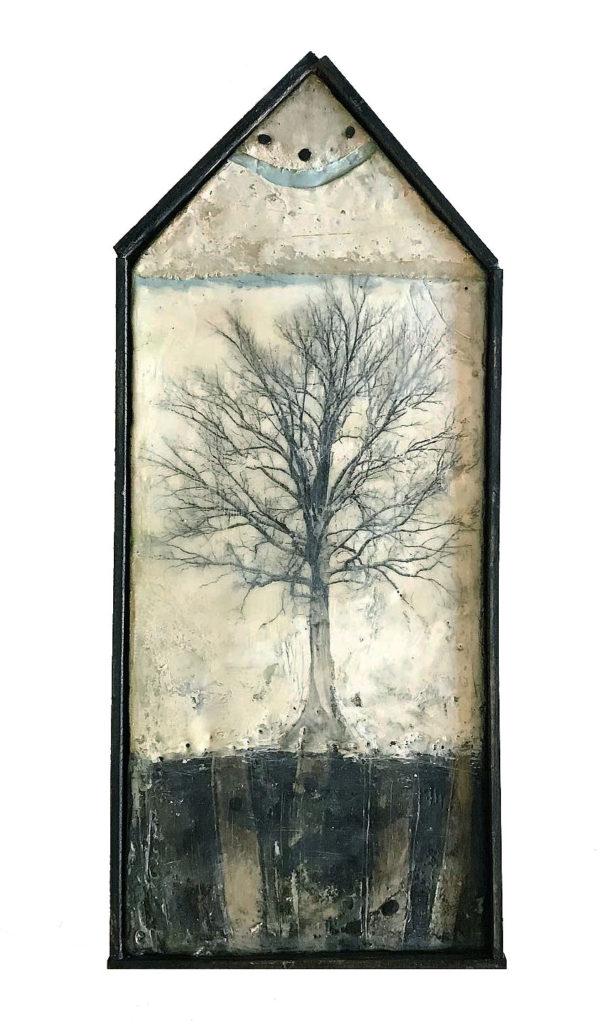 Encaustic mixed media piece We Are Seeds by Bridgette Guerzon Mills.