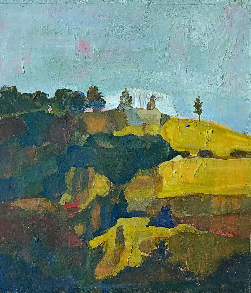 On the Hilltop, gouache painting by Bridgette Guerzon Mills