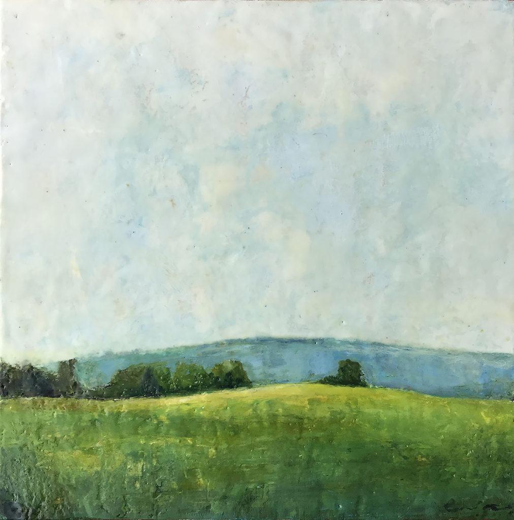 encaustic painting, Sky Over A Field, by Bridgette Guerzon Mills