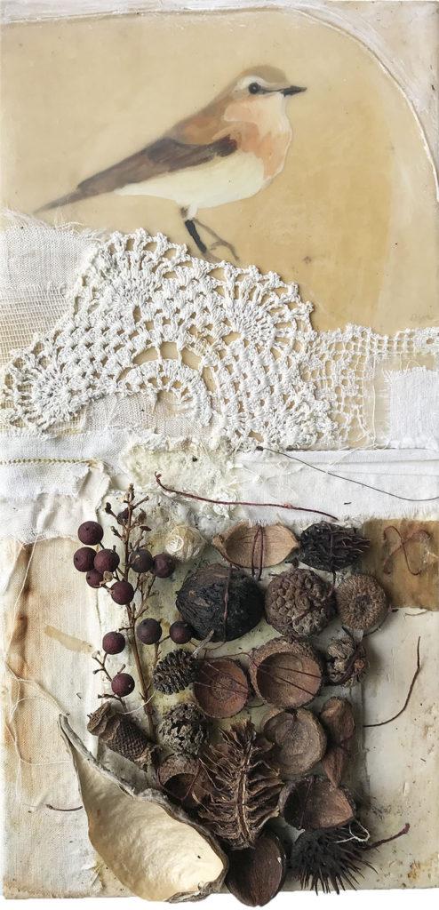 encaustic mixed media piece, Sojourner, by Bridgette Guerzon Mills