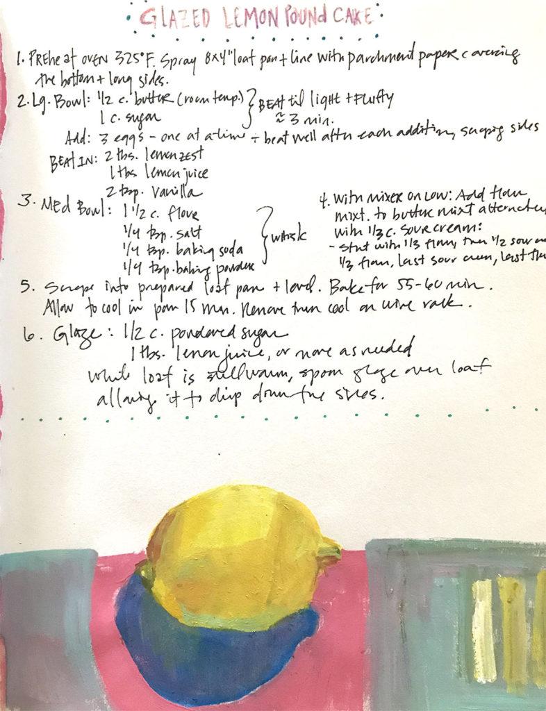 Illustrated Recipe of Glazed Lemon Pound Cakeby Bridgette Guerzon Mills