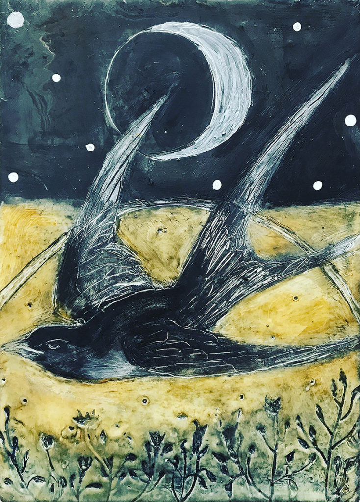 Encaustic mixed media By the Light of the Crescent Moon by Bridgette Guerzon Mills