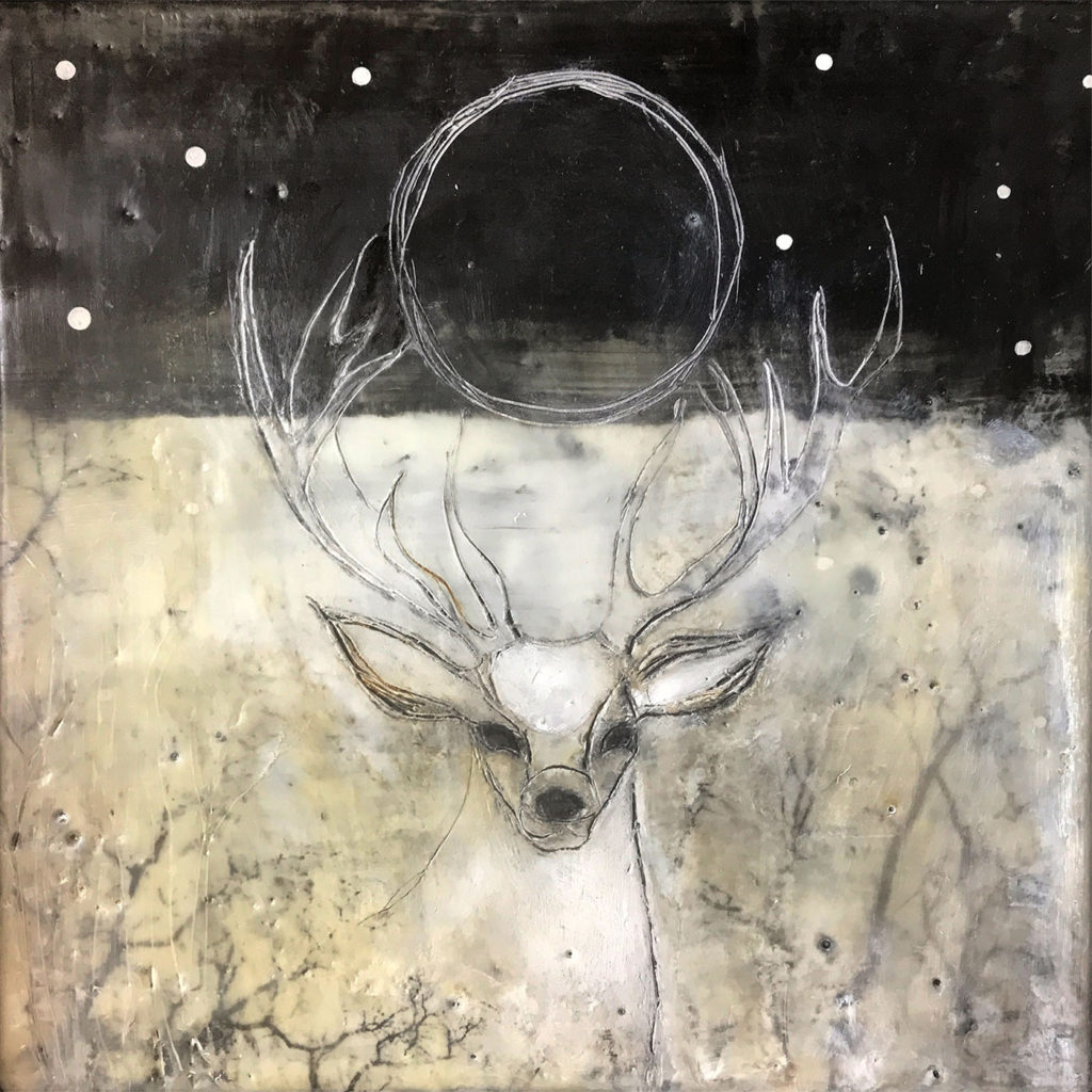 Encaustic mixed media painting, Dreaming I See Visions, by Bridgette Guerzon Mills