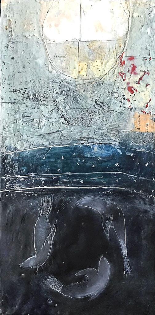 Encaustic painting, Sea Lion Dreams by Bridgette Guerzon Mills